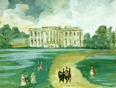"Painting by Jackie given to JFK in 1962 as a gift.  The title is ""The White House Long Ago.""  It is watercolor on paper and she painted it at Hammersmith Farm in Newport, Rhode Island."