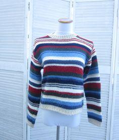 Vintage 90s Striped Sweater Cropped Crewneck by GroovyGirlGarb, $22.00