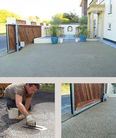 installing resin bound paving in silver grey granite