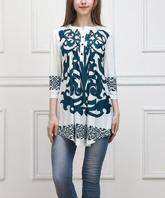Loving this Turquoise Scroll Notch Neck Tunic on #zulily! #zulilyfinds
