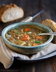 Lentil Soup with Coriander and Cumin -my favorite lentil soup. Make it quickly in the pressure cooker. #vegan