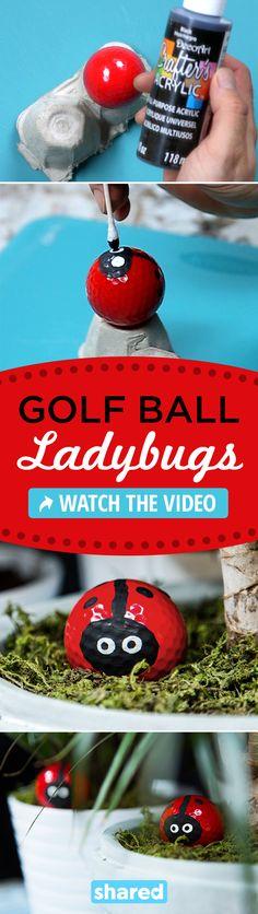 Recycle old golf balls into ladybugs- you need wire hanger, golf ball, and plast. Recycle old golf Diy Garden, Garden Crafts, Garden Kids, Garden Junk, Golf Carros, Golf Ball Crafts, Soccer Crafts, Kids Golf, Crafts For Kids