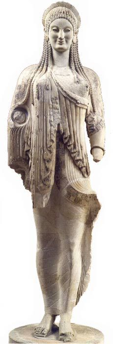 Archaic Kore statue, Kore also known as Persephone, she is daughter of Demeter - circa 550-500 BC, from ancient Attica