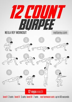12-Count Burpee Workout. Works: Chest, triceps, lower abs, lower back, glutes, quads