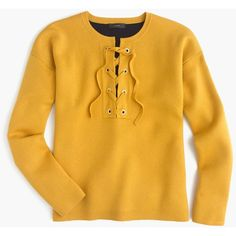 J.Crew Collection Bonded Lace-Up Sweater ($265) ❤ liked on Polyvore featuring tops, sweaters, over sized sweaters, lace up sweater, yellow sweater, lace up crop top and yellow crop top