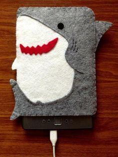 Your Gadgets Never Felt So Good   Felt Tech Case: Shark Tablet Cover