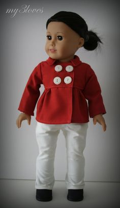 Red empire cut pea coat by my3loves. Hand made following the Empire Peacoat pattern, found at http://www.pixiefaire.com/products/empire-peacoat-18-doll-clothes. #pixiefaire #empirepeacoat