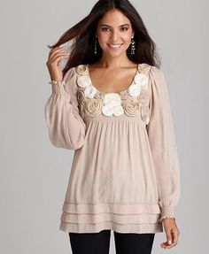 ECI long sleeve rosette scoop neck top. I have the dress version in black...love it!