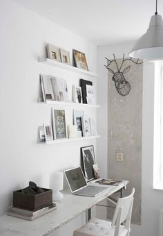 Rustic Home Office - note the chic antlers!