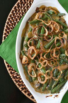From scratch green bean casserole: green beans, mushrooms + homemade fried shallots  {Annie's Eats}