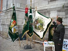 Embroidered ceremonial flags of hunting