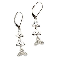 These exquisite Earrings embodies the Brilliance of Diamonds set in Sterling Silver. Inspired by the ancient Trinity knot, the Shanore creative team have achieved an intricate modern Celtic jewelry design that is described as Celtic Brilliance.