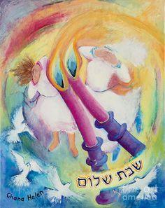 Shabbat Shalom Painting - Shabbat Candle-lighting by Chana Helen Rosenberg Shabbat Shalom In Hebrew, Shabbat Shalom Images, Beautiful Candles, Best Candles, Jewish Sabbath, Good Shabbos, Shavua Tov, Shabbat Candles, Religion