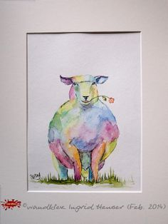 Aquarell - 'Das bunte Schaf der Familie- heute: das coole Schaf' Aquarellbild 20x30cm - ein Designerstück von ©  wandklex Ingrid Heuser, Ratzeburg, Germany im kleinen Klexsho bei DaWanda auf http://de.dawanda.com/shop/wandklex
