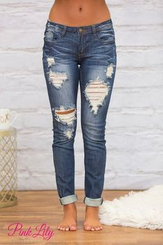 Our Alexandra Distressed Machine Jeans are a perfect addition to your wardrobe! These medium wash denim jeans are easy to pair with a variety of blouses and tanks for a gorgeous look.