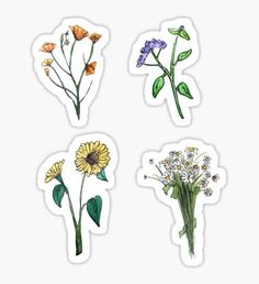 'Wildflower Boho Hippie Stickers' Sticker by Katy Sestay Stickers Cool, Phone Stickers, Journal Stickers, Planner Stickers, Tumbler Stickers, Anne With An E, Aesthetic Stickers, Transparent Stickers, Tumblr Stickers