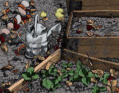 Watering Can, vintage, vegetable plot, kitchen garden, art print, gift for gardener, veg boxes, garden illustration, digital illustration by Sildil on Etsy #artprint #illustration #wallart #giftforgardener