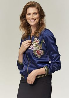 """Jacket """"GLAM"""" Size Model, Bomber Jacket, Take That, Long Sleeve, Unique, Casual, Sleeves, Fabric, How To Wear"""