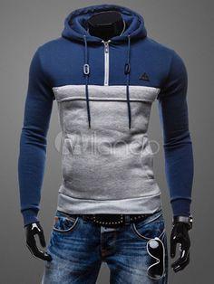 Ate para arriba sudadera con capucha Color bloque Slim Fit con capucha de  algodón para hombres 3ad293dde0d4
