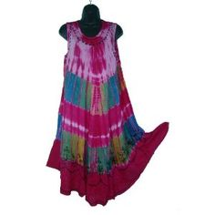 Tie Dye Pink Color Sun Dress / Swimsuit Cover Up India One Size R31 Review