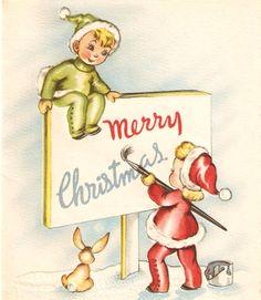 Vintage Christmas Card  Elves Bunny