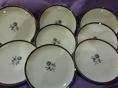 Vintage Royal Song Fine China Moonlight Rose Set of 8 Dinner Plates Rare Pattern 5437-A Excellent Condition