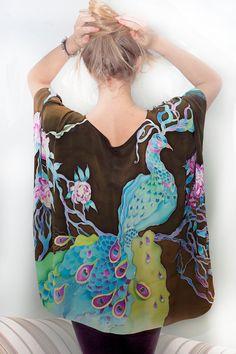 Silk Blouse Tunic Kimono Shirt  Kaftan Hand Painted by aniutik, $280.00