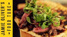 Steak sandwich. Ingredients: Skirt steak (seasoned); 20g Butter; Onions; 70g Brown sugar; 125ml red wine vinegar; Olive oil; Ciabatta (toasted); Salad leavs.