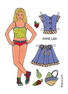 Karen`s Paper Dolls: Anne Lise 1-5 Paper Doll to Print in Colours. Anne Lise 1-5…