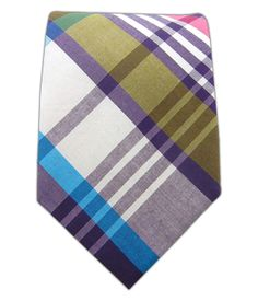Powered Madras - Olive/Eggplant Cotton Tie - from TheTieBar.com