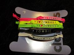 new pack of 5 i love zombies Bracelets fashion jewelry stretch undead