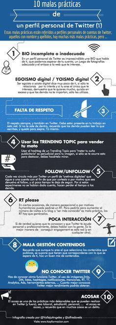10 malas prácticas de un perfil personal de Twitter. Infografía en español. #CommmunityManager
