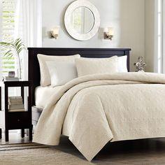 Perfect bedroom Light grey walls, neutral light comforter, i even like the dark furniture for contrast!