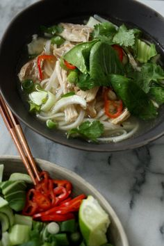 Easy Vietnamese Chicken Pho Recipe with Bok Choy, Chilese, and Herbs (Pho Ga Recipe)