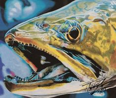 """""""Vibe"""" Colored pencil drawing of a Brook Trout by Travis J. Reference photo courtesy of """"Faceless Fly Fishing Media"""" Colored Pencil Artwork, Color Pencil Art, Colored Pencils, Fish Artwork, Fish Wall Art, Fish Paintings, Fly Fishing, Fishing Signs, Trout Fishing"""
