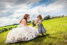 Mobile Video and Photography - Virginia Photographers - Bride and flower girl in a field