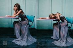 "The Weekend vs. Monday… Viki Rutsch designed the set of Taylor Swift's cover story for the November issue of Vogue Australia! For inspiration, Viki said that ""Emma [Summerton, the photographer] was thinking of vintage wallpaper, an old diner table, natural light: a 70s vibe but still young and cool."" Styled by Christine Centenara, hair by Serge Normant, makeup by Marla Belt, & manicure by Alicia Torello."