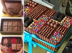 Here's the link to the tutorial >> DIY Chocolate Lovers Chocolate Box Cake << by Creative Cakes by Sharon Chocolate Box Cake, Chocolate Lovers, Chocolate Frosting, Candy Cakes, Cupcake Cakes, Decoration Buffet, Box Cake Recipes, Creative Cakes, Unique Cakes