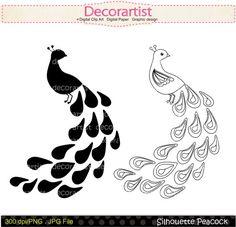 Silhouette clip art, Silhouette peacock clip art Black peacock, INSTANT DOWNLOAD