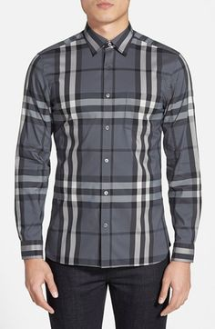 Burberry Brit 'Nelson' Trim Fit Check Sport Shirt available at Burberry Shirts For Men, Cotton Shirts For Men, Fashion Art, Mens Fashion, Burberry Brit, Check Shirt, Sports Shirts, Personal Style, Nordstrom