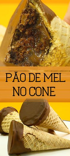Receita de Pão de mel de liquidificador no cone Faça e venda! Doce fácil de fazer e ótimo para ganhar um dinheiro extra Sweet Recipes, Cake Recipes, Dessert Recipes, I Love Food, Good Food, Confort Food, Food Hacks, Portuguese Recipes, Panna Cotta