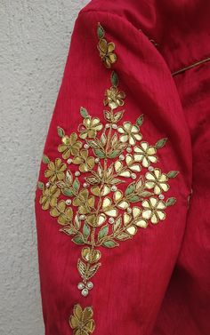 Sage Green Gota Patti Saree Featuring this Sage Green saree in Chinon Chiffon base with hand embroidered gota patti motifs all over. It is paired with Red contrast blouse in dupion with matching embro Embroidery Suits Punjabi, Hand Embroidery Dress, Kurti Embroidery Design, Embroidery On Clothes, Indian Embroidery, Embroidery Fashion, Hand Embroidery Designs, Beaded Embroidery, Sari Blouse Designs
