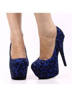 Sexy Blue Leopard Suede Platform Stiletto Heels