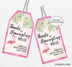 Flamingo Party Favor Thank You Tags Lets Flamingle Digital Printable Baby Bridal Shower Anniversary Bachelorette Birthday Tropical PCFPS door PeekabooChewPrints op Etsy https://www.etsy.com/nl/listing/495189236/flamingo-party-favor-thank-you-tags-lets