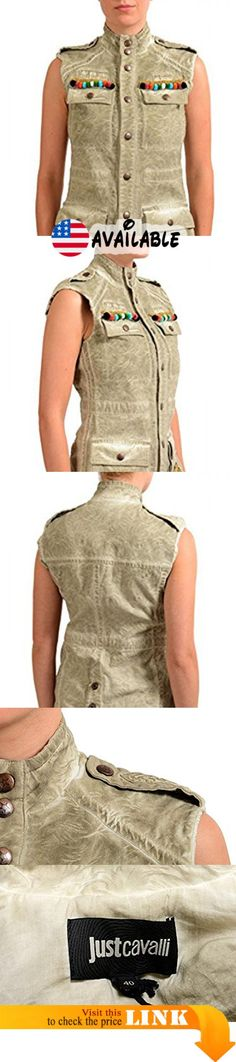 "B077C7JGK8 : Just Cavalli Brown Embellished Button Down Women's Vest US S IT 40. New with tags. Country/Region of Manufacture: Italy. Material: 49% Rayon 47% Cotton 4% Spandex. Bust: 17"" Length: 27"""