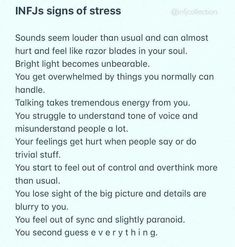 Didn't even realize some of this is connected to INFJ stress but yes. Infj Traits, Infj Mbti, Intj And Infj, Isfj, Infj Personality, Personalidad Infj, Myers Briggs Infj, Infj Problems, Thoughts