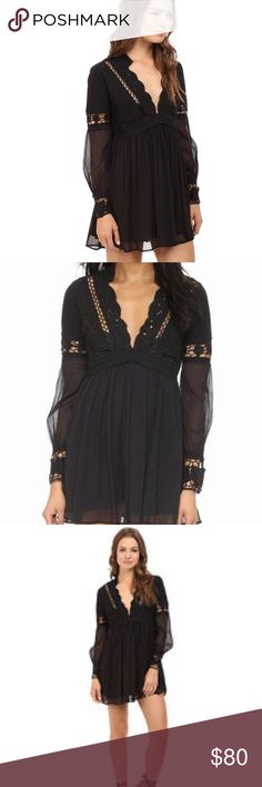 Free people dreamland cutout crochet mini dress 6 Brand new with tags $168 free people dreamland mini dress with cutout details and long sleeves. This is a size 6 and comes in black. This has a lot of beautiful details especially the back! Smoke and pet free home no trades. Make reasonable offers via the button!!! Free People Dresses Mini