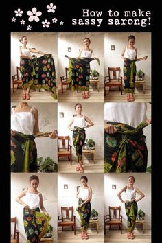 Batik Amarillis Made in Indonesia How to wear sassy sarong!From the collection: My Closet on Clozette IndonesiaTie a sarong Kebaya Hijab, Kebaya Dress, Batik Kebaya, Kebaya Muslim, Batik Dress, Sarong Dress, Blouse Batik, Batik Fashion, Hijab Fashion