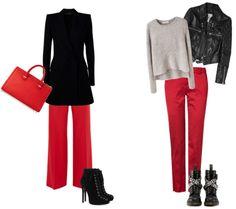 что одеть с красными брюками