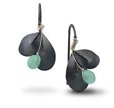 Oxidized+Indigo+Leaf+Earrings by Jamie+Cassavoy: Silver+&+Stone+Earrings available at www.artfulhome.com